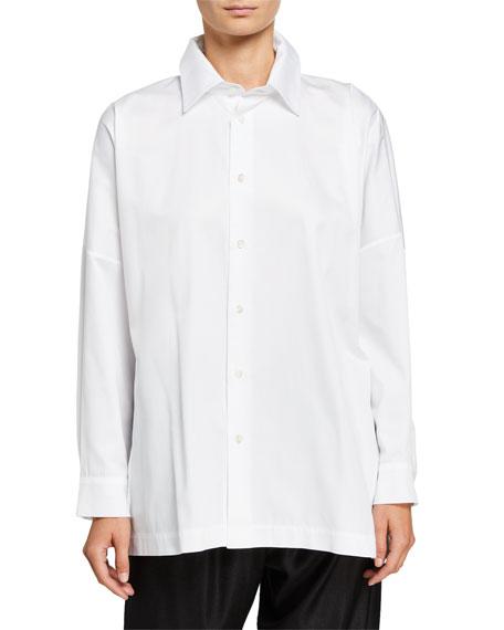 Eskandar Wide Poplin Button-Front Shirt