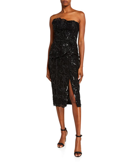 Zuhair Murad Alicante Sequined Strapless Dress