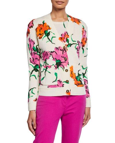 V-Neck Floral-Jacquard Wool Cardigan