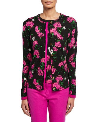 Sonan Floral-Jacquard Wool Cardigan