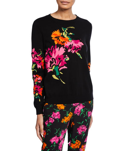 Wool-Cashmere Floral Intarsia Sweater