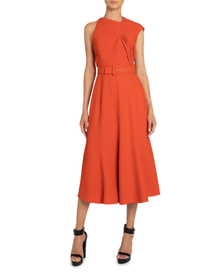 Andrew Gn Belted Crepe Asymmetric-Ruched Dress