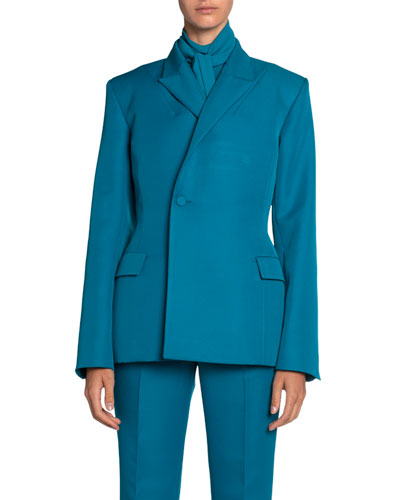 Tech Twill Double-Breasted Blazer Jacket