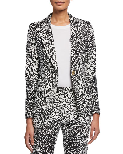 Abstract-Print Crepe Jacket