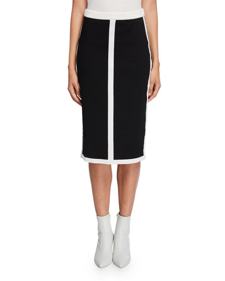 Escada Contrast-Striped Double-Face Wool Skirt