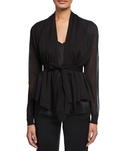 Sheer Silk-Cotton Draped Cardigan