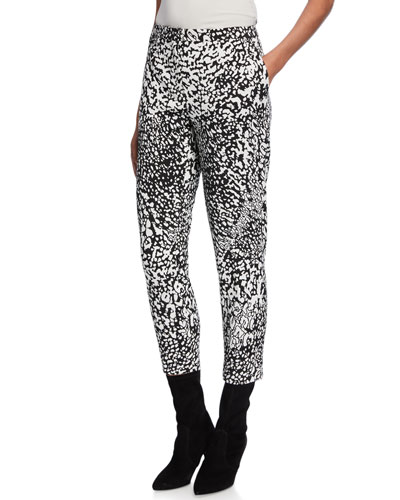 Abstract Animal-Print Crepe Cropped Pants