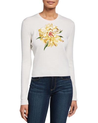 Sower Floral-Applique Wool-Silk Sweater