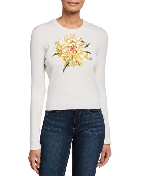Escada Sower Floral-Applique Wool-Silk Sweater