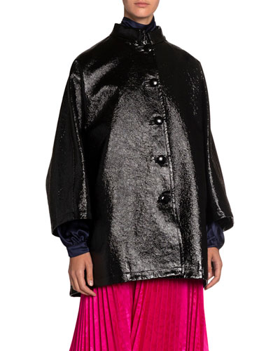 Coated Denim High-Neck Opera Coat