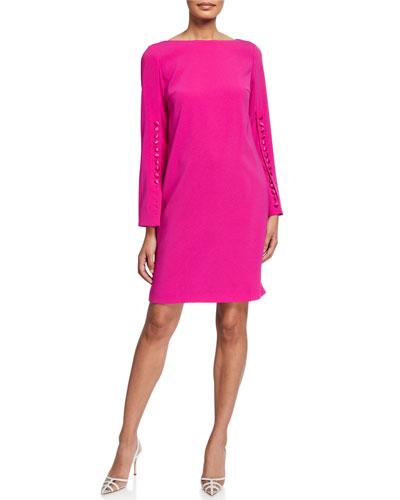 Dehva Crepe Button-Sleeve Dress