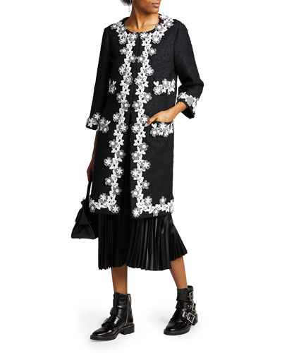 Floral Trim Tweed Coat