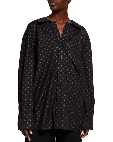 Balenciaga Golden-Jacquard Poplin Button-Front Top