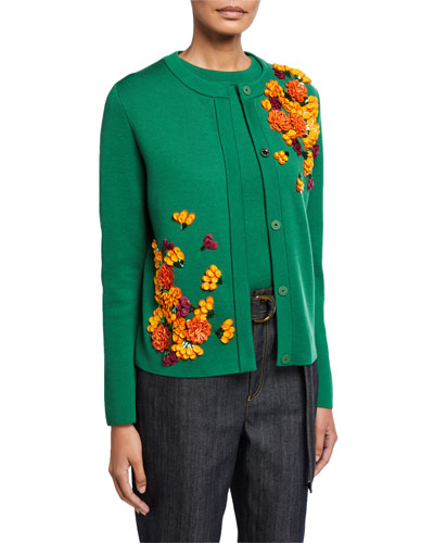 Wool Cardigan with Floral Applique