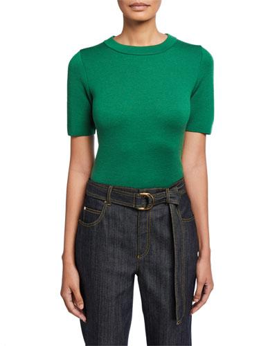 Short-Sleeve Wool Sweater