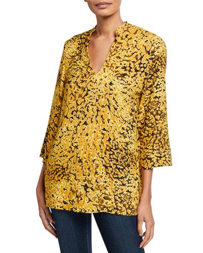 Neam Golden Animal-Print 3/4-Sleeve Tunic