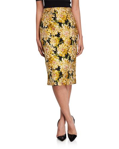 Floral Jacquard Midi Pencil Skirt