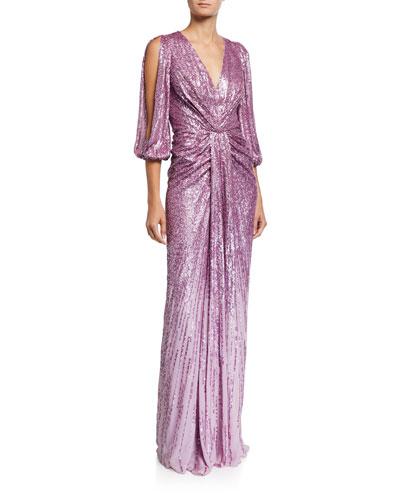 Sequined V-Neck Split Sleeve Column Gown