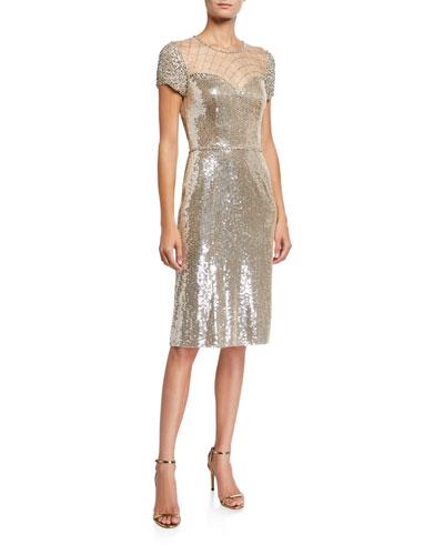 Sequin Cap-Sleeve Cocktail Dress