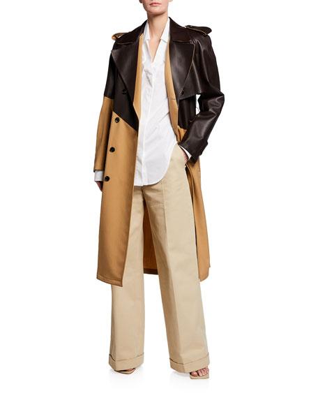 Bottega Veneta Leather & Gabardine Trench Coat