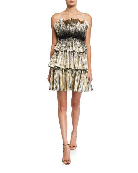 Jenny Packham Strapless Tiered Short Dress