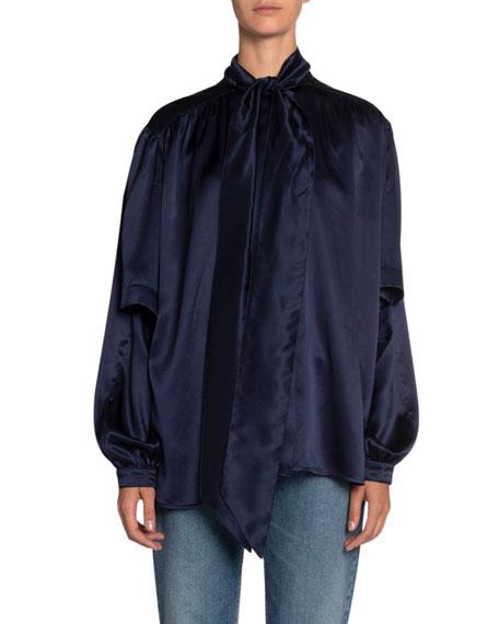 Balenciaga Satin Double-Face High-Neck Blouse