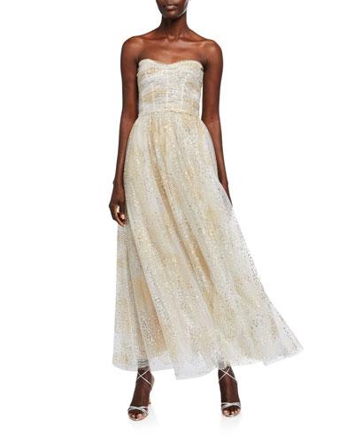 Glittery Ruched Bodice Strapless Chiffon Fit-&-Flare Dress