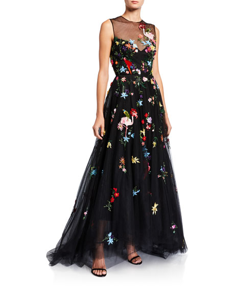Monique Lhuillier Floral-Embroidered Tulle Illusion Gown