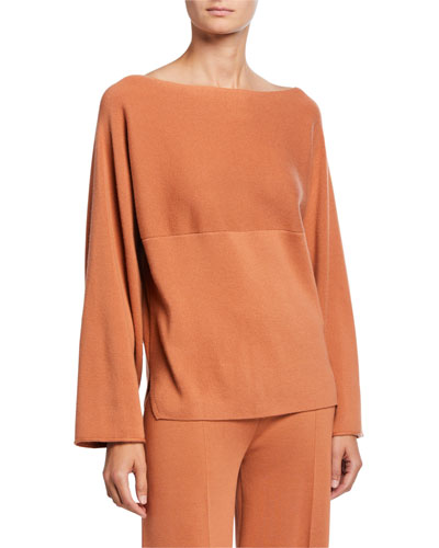 Cashmere Boat-Neck Wide-Sleeve Sweater