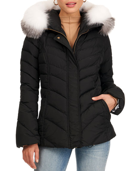 Gorski Apres-Ski Puffer Jacket W/ Detachable Fox Fur Hood Trim