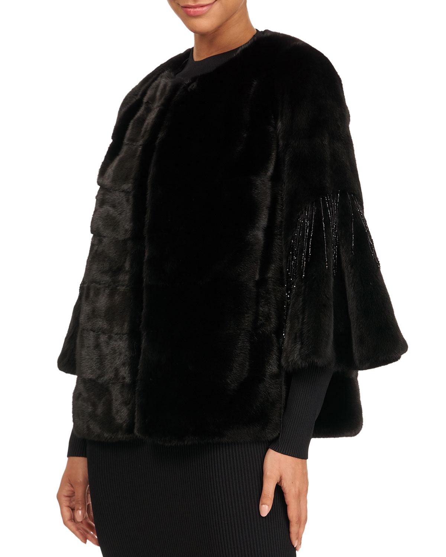 Horizontal Mink Fur 3/4 Bell Sleeve Jacket W/ Crystal Detail