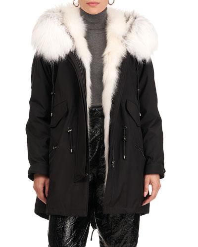Parka W/ S-Cut Fox Fur Tuxedo And Trim