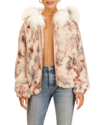 Mink Fur Zip-Front Jacket W/ Fox Trim