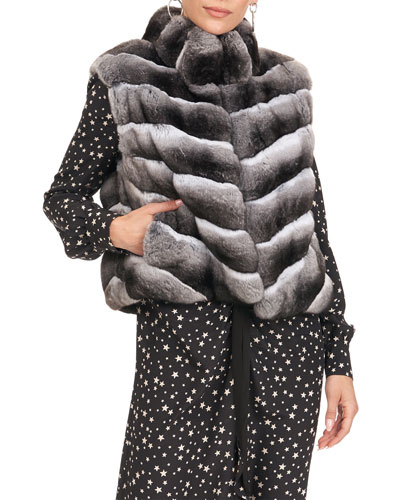 Chevron Chinchilla Fur Vest