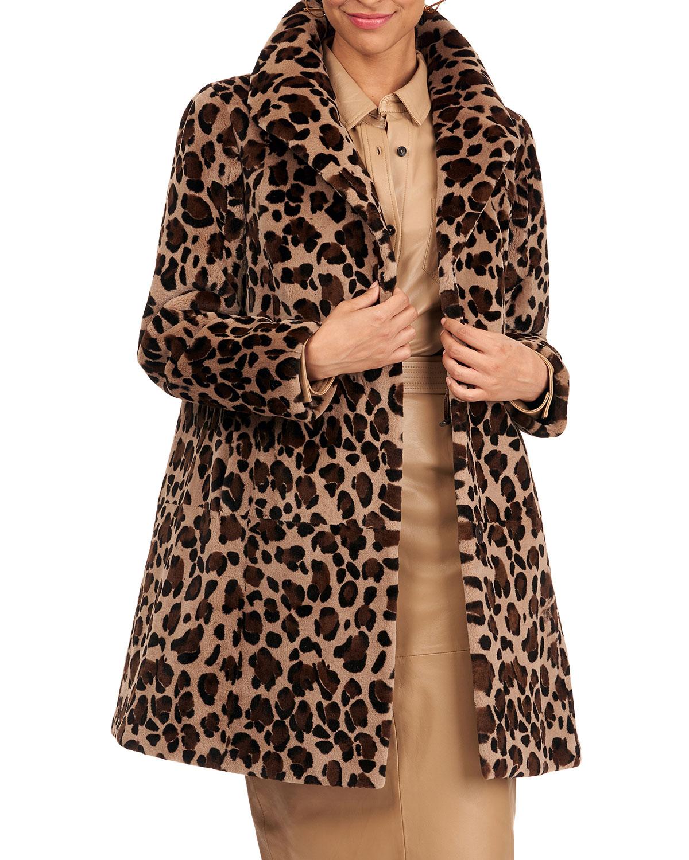 Reversible Leopard-Print Sheared Mink Fur Stroller Coat