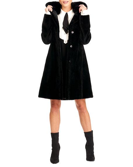 Gorski Sheared Mink Coat w/ Fox Collar