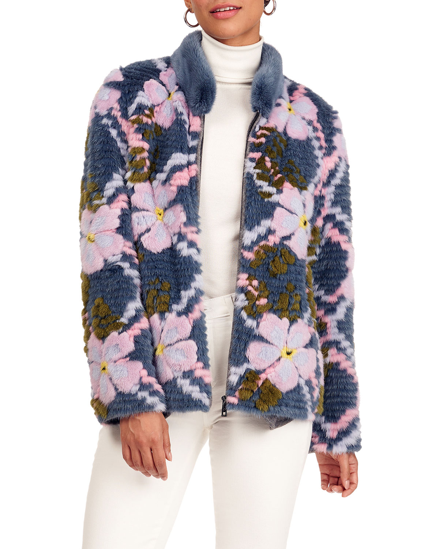 Layered Mink Fur Jacket W/ Short Nap Mink Fur Collar