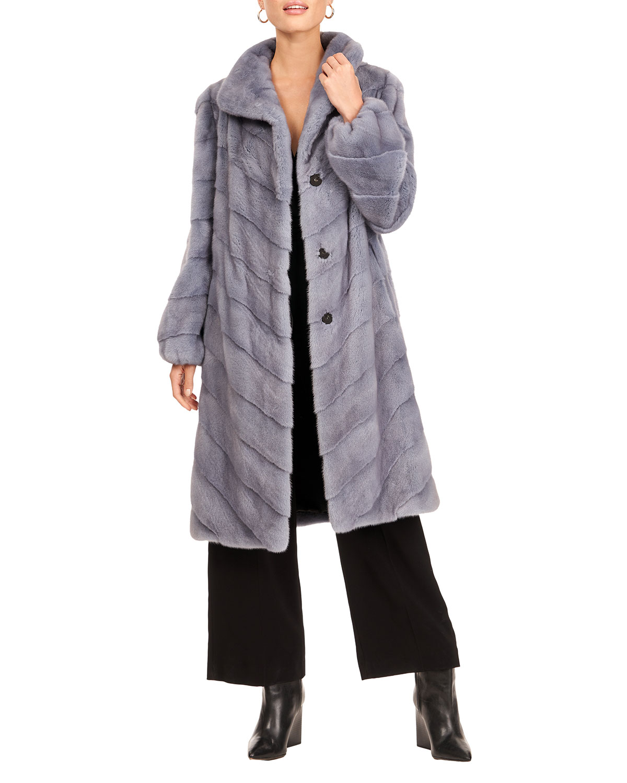 Chevron Mink Fur Short Coat W/ Bubble Sleeves