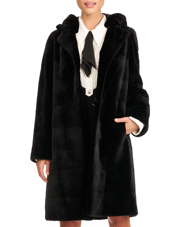 Reversible Horizontal Sheared Mink Fur Stroller W/ Detachable Hood