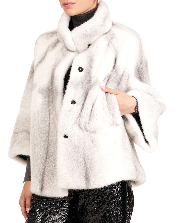 Mink Fur 3/4 Sleeve Collarless Jacket