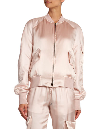 Satin Bomber with Removable Scarf