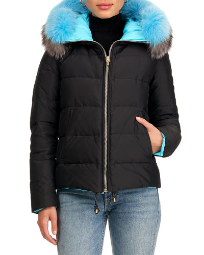 Reversible Quilted Puffer Parka W/ Detachable Fox Fur Hood Trim