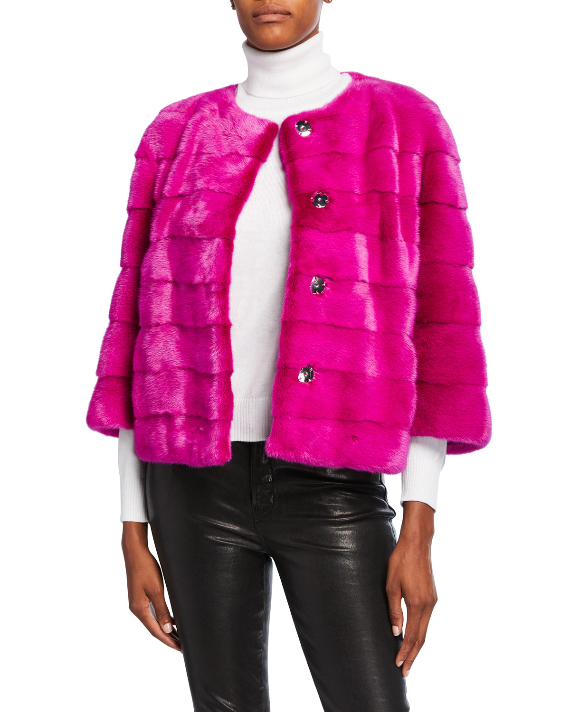 Horizontal Mink Fur 3/4 Sleeve Collarless Jacket