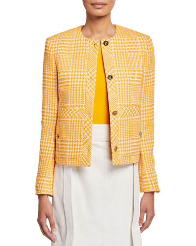 Houndstooth Checked Cotton-Tweed Jacket