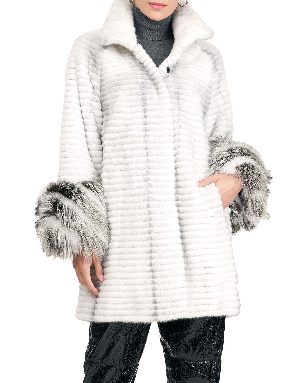 Horizontal Mink Fur Stroller Coat W/ Fox Fur Cuff