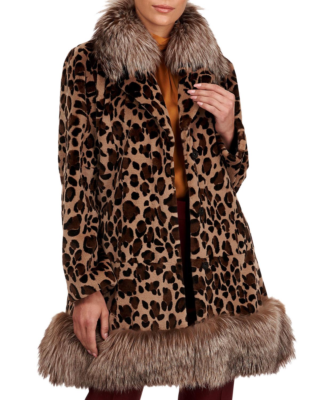 Mink Fur Stroller W/ Silver Fox Collar And Bottom
