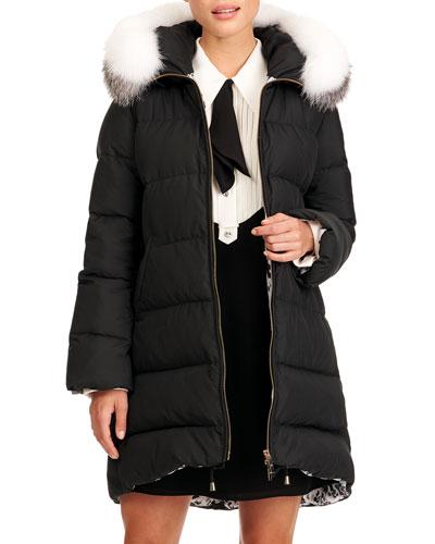 Apres-Ski Puffer Jacket W/ Detachable Fox Fur Hood Trim