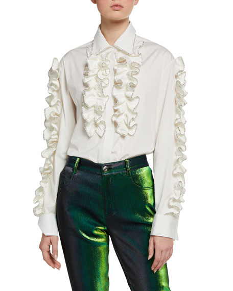 Area Crystal-Tipped Ruffled Poplin Shirt