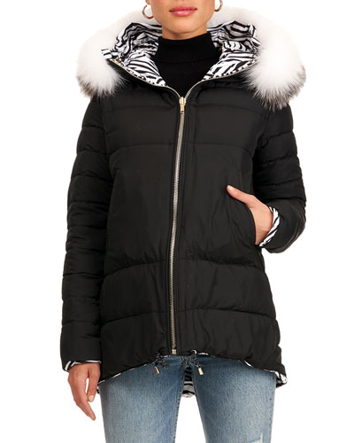 Reversible Quilted Puffer Jacket W/ Detachable Fox Fur Hood Trim