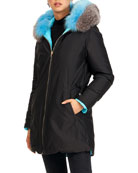 Gorski Reversible Quilted Puffer Apres-Ski Parka Jacket W/